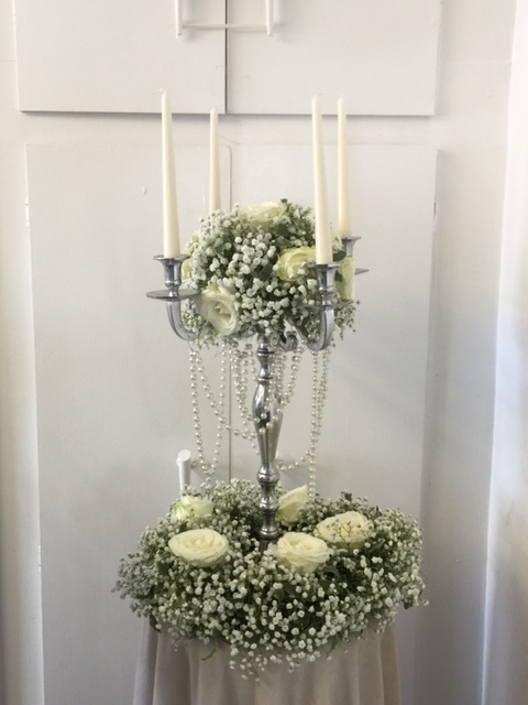 White wedding table center candelabra