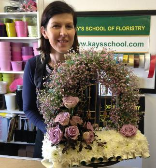 Pink Gyp gates of Heaven Funeral Display at Kays Flower School