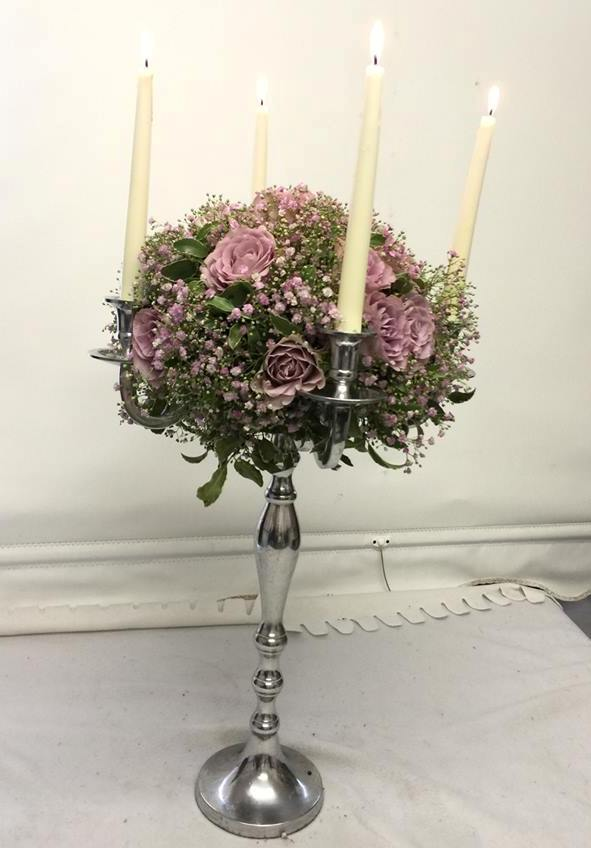 pink candle arrangement for tables