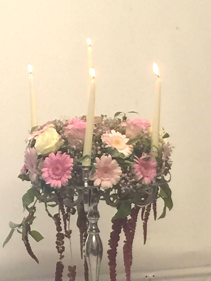 pink candelabra at the flower school