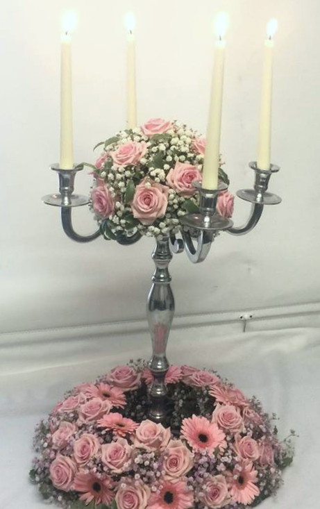 Pnk Rose Floral Table Candelabra