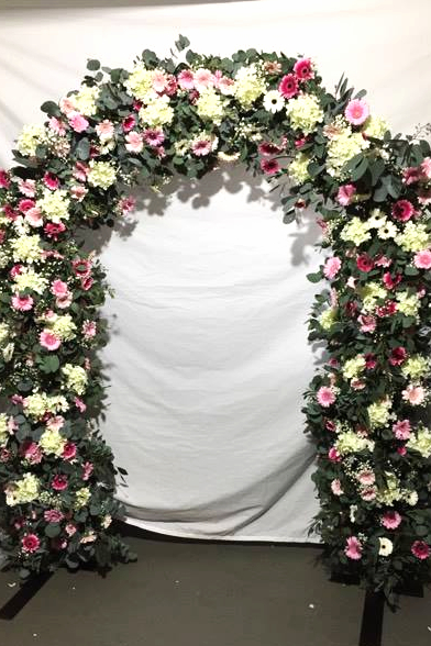 Pink & White civil ceremony flower arch