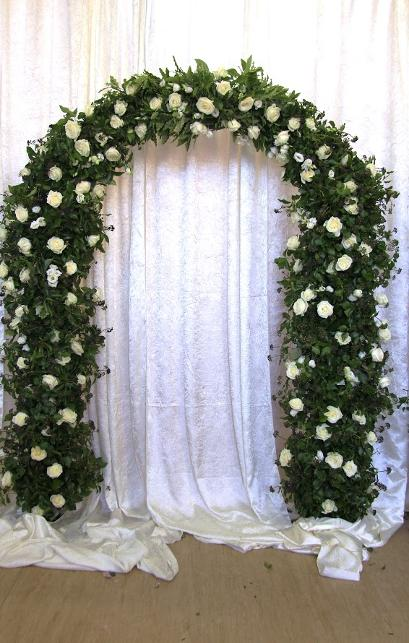 White Rose Floral Arch for wedding