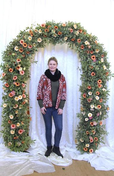 coral flower arch at kays flower school