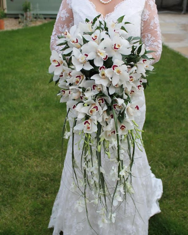 Cascading Wedding Bouquet by students at kays flower school