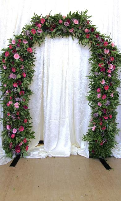 Pink Floral Arch at Kays flower school