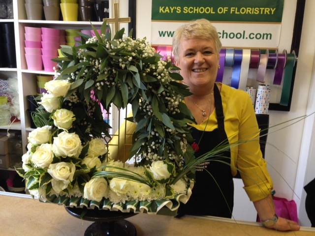 White Avalanche Rose Gates of Heaven funeral Display at Kays Flower School
