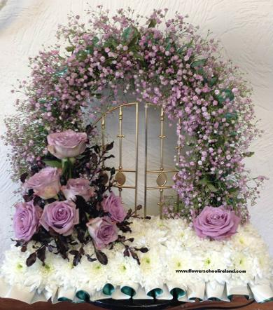 Pink fluffy gates of Heaven Funeral wreath