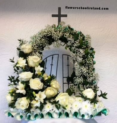 White Rose funeral gates of heaven at flower school ireland