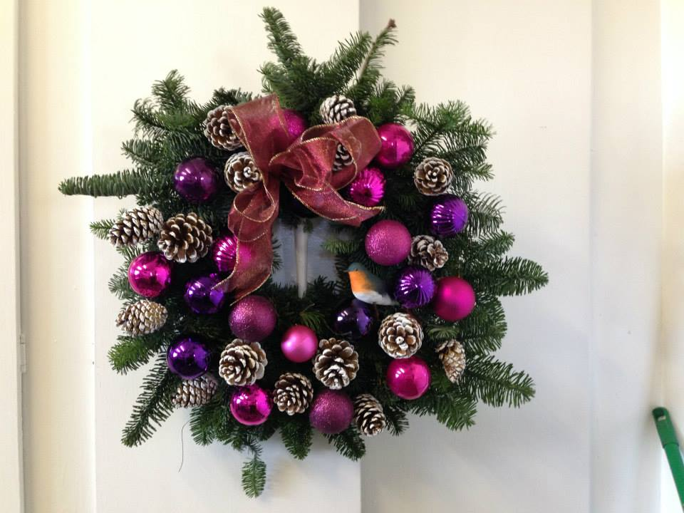 Pink Christmas Door Wreath