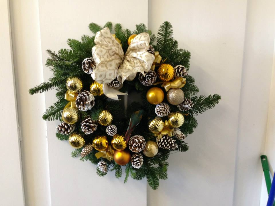Gold Christmas Door Wreath