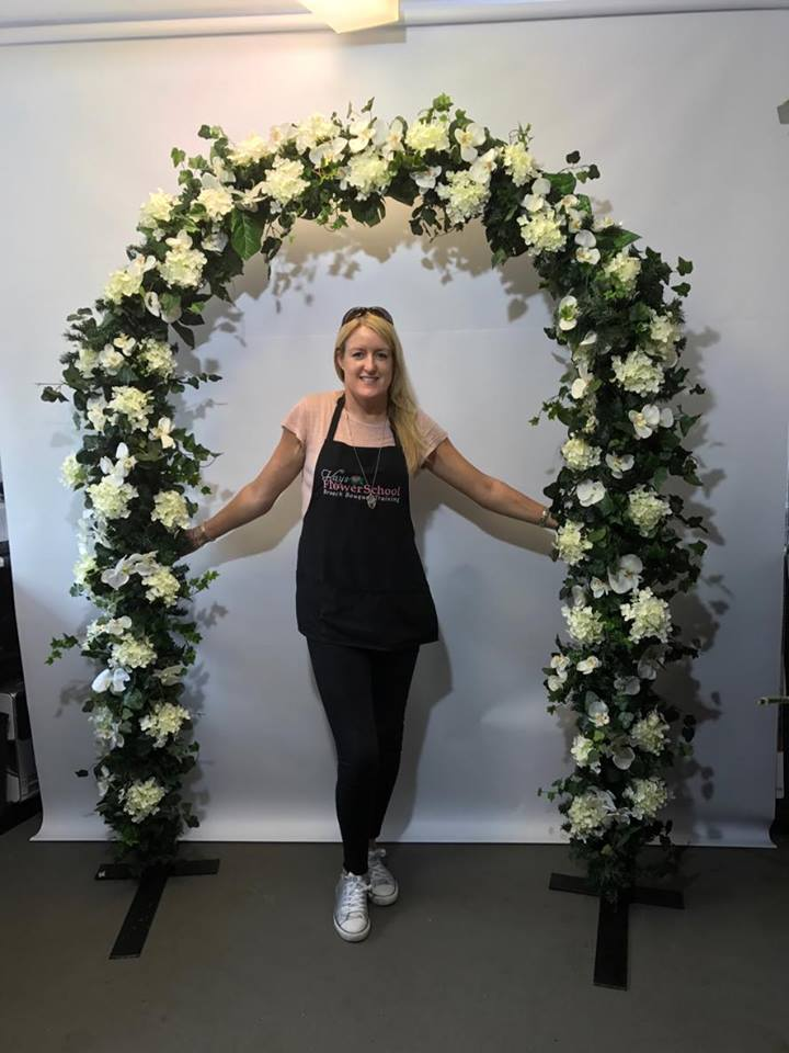 faux flower arch at the flower school