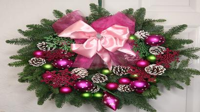 Pink Breast Cancer Christmas Wreath