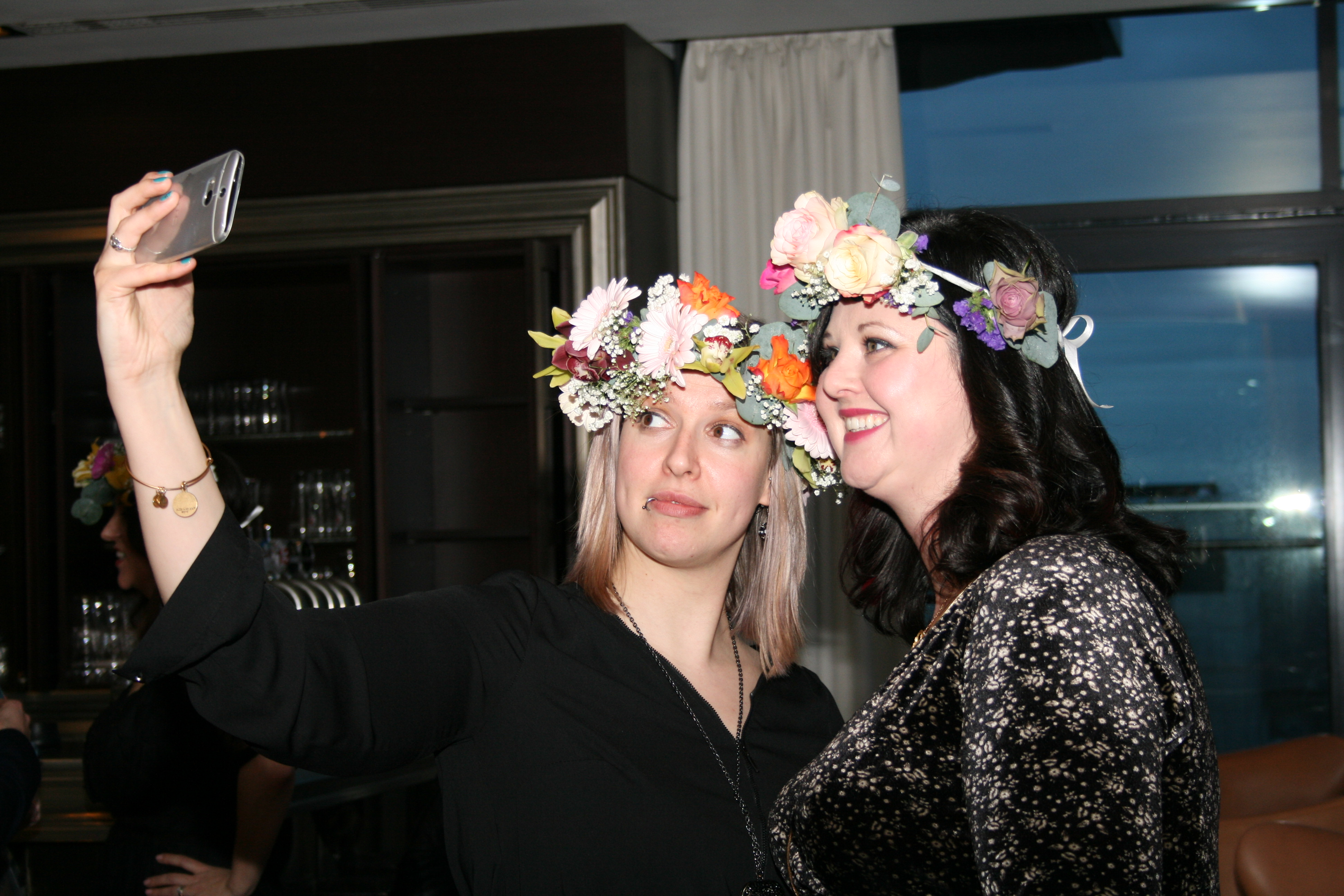 Selfie fun at flower crown party