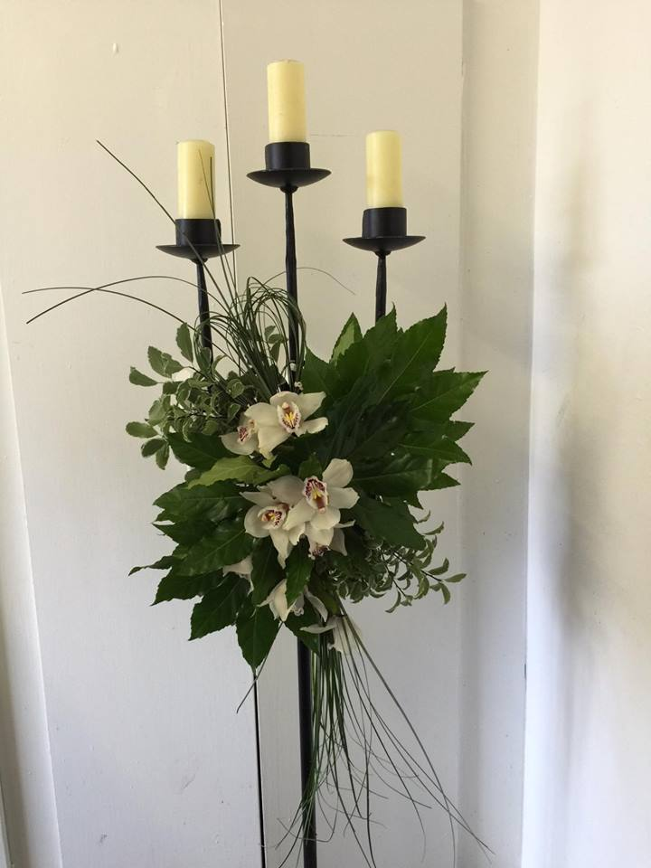 Pew End of White Orchids