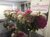 Mixed pink flower table display