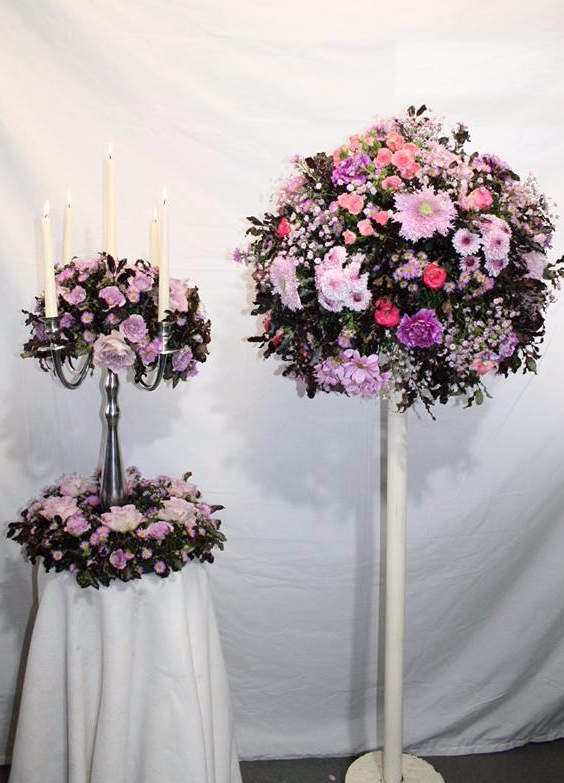 Matching pink flowers for a wedding venue