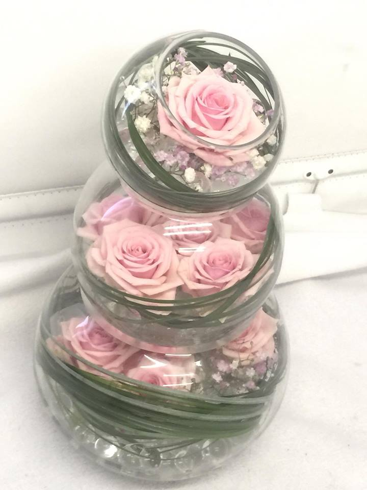 Stacked Pink Table Flower Display