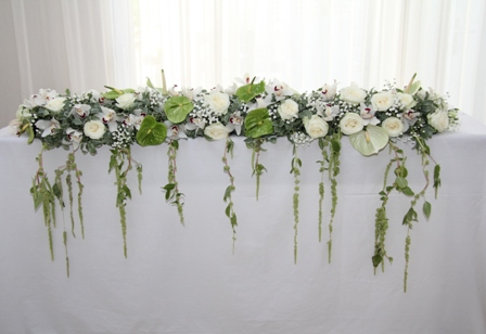 Wedding Table Garland of white flowers at Kays Flower school