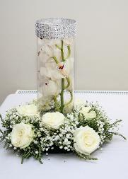 White Orchid and Rose Table Center