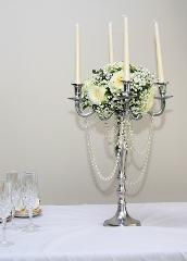 White Candelabra Wedding Table Center