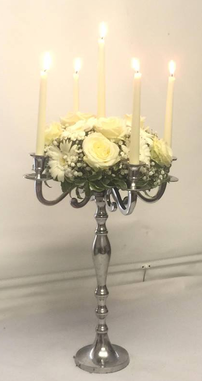 White Rose Floral Candelabra for weddings