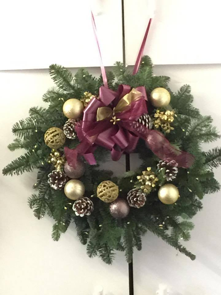 Luxury Wine & Gold Christmas Wreath