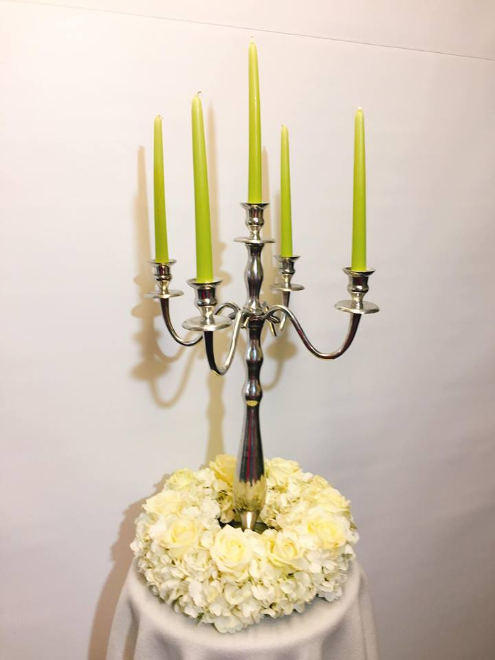 White Hydranga table candelabra