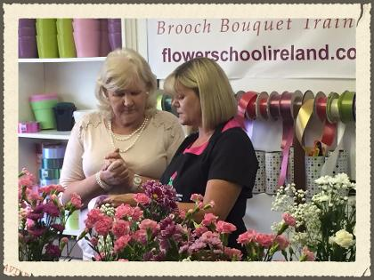 Making Bows  on our flower arranging course