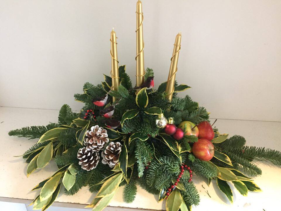 chrismas Floral design by students of kays flower school