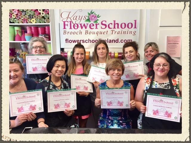 flower school students with their certificates