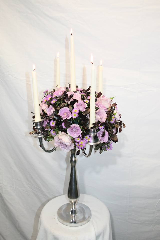 purple candelabra at the flower school